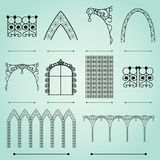 Silhouettes arches, fences and windows. Silhouettes of street forged arches, fences and windows Stock Photography