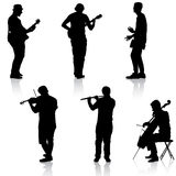 Silhouettes street musicians playing instruments. Vector illustration Royalty Free Stock Photo