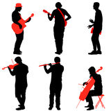 Silhouettes street musicians playing instruments. Vector illustration Stock Photos