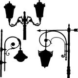 Silhouettes of the streetlights Stock Image