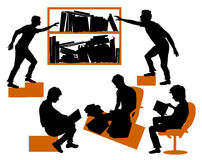 Silhouettes of students learning in library. Five black silhouettes in the study of learning Stock Photography