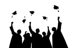 Silhouettes of students throwing mortarboards Royalty Free Stock Photo