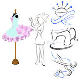 Silhouettes for studio mannequin with a dress, vector. Silhouettes for Atelier clothing repair scissors, a sewing machine, the needle bar, the girl seamstress a Stock Image