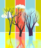 Silhouettes stylisées d'arbre Photo stock