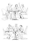 Silhouettes of successful business people working on meeting. Sketch Royalty Free Stock Photos