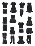 Silhouettes of summer clothes for girls Royalty Free Stock Images