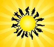 Silhouettes and sun Royalty Free Stock Image