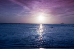 Silhouettes in sunset Royalty Free Stock Photography