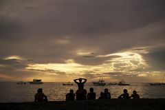 Silhouettes at Sunset in Costa Rica Stock Photography