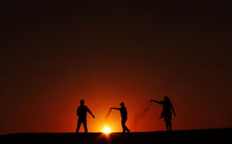 silhouettes  sunset at Jaisalmer  thar desert India Stock Image