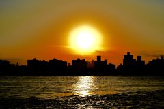 Silhouettes sunset of Manhattan Royalty Free Stock Image