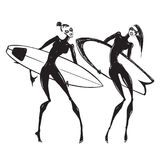 Silhouettes of surf girls. Royalty Free Stock Photography