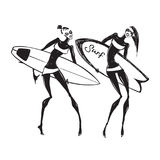 Silhouettes of surf girls. Stock Images