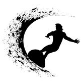 Silhouettes of surfers Stock Photos