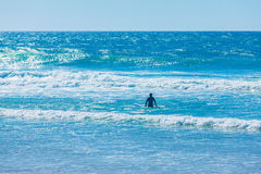 Silhouettes of surfers on Atlantic ocean waves Royalty Free Stock Photo
