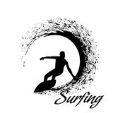 Silhouettes of surfers Stock Photography