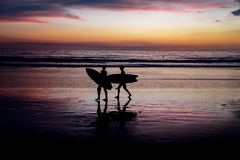 Silhouettes of surfers at sunset royalty free stock images