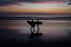 Silhouettes of surfers at sunset royalty free stock photo
