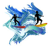 Silhouettes of surfers in the turbulent waves. Two black silhouettes of boy and girl surfing the sea Stock Photography