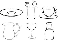 Silhouettes of tablewares Royalty Free Stock Photo