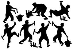 Silhouettes of tagger with a backpack and sprays. Seven black silhouettes of a boy with spray Royalty Free Stock Image
