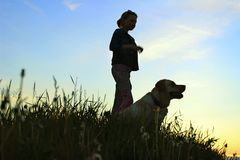 Silhouettes Of A Teenage Girl Walking With Her Pet. Silhouettes Of A Teenage Girl Walking With Her Pet On Sunset Background. Silhouettes Of A Girl And Dog stock photography
