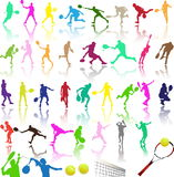 Silhouettes of tennis player Stock Photo