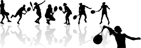 Silhouettes of tennis player Royalty Free Stock Image