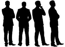 Silhouettes of thinking businessman in different postures Stock Photos