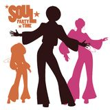 Silhouettes of three dancing soul, funk or disco. Retro style Stock Photography