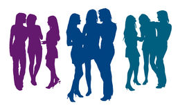 Silhouettes of three girlfriends talking to each other. Detailed silhouettes of three girlfriends talking to each other on meeting stock illustration