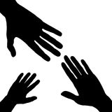 Silhouettes of three hands Stock Photos