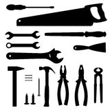 Silhouettes of tools. Tools silhouettes collection. Vector illustration Royalty Free Stock Image