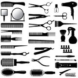 Silhouettes of tools for the hairdresser Royalty Free Stock Image
