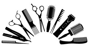 Silhouettes of tools for the hairdresser Stock Image