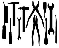 Silhouettes of tools Royalty Free Stock Photo