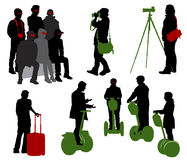 Silhouettes of tourists Royalty Free Stock Photo