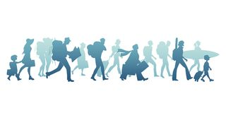Silhouettes of tourists walking carrying suitcases, backpacks, map, guitar, and surfboard. Young, elderly, families, children, isolated on white background vector illustration