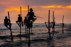 Silhouettes of the traditional Sri Lanka`s fishermens Stock Photos