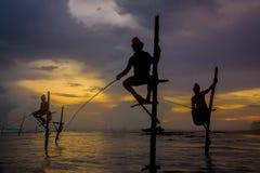 Silhouettes of the traditional Sri Lankan stilt fishermen Stock Images
