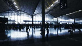 Silhouettes of Travelers in Airport. 