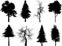 silhouettes treen stock illustrationer