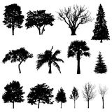 silhouettes trees Vektor Illustrationer