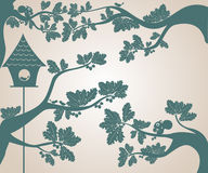 Silhouettes of trees and bird house vector illustration