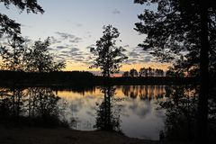Silhouettes of trees and colorful sky are reflected in the forest lake in the evening. Unusual and picturesque scene. Russia. Silhouettes of trees and colorful royalty free stock photography