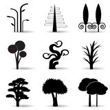 Silhouettes of trees. Set of icons, abstract silhouettes of trees Royalty Free Stock Images