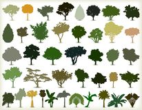 Silhouettes of trees. Vector set Stock Images