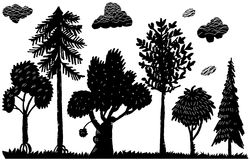 Silhouettes of trees (vector). The stylized silhouettes of trees. For illustrators Royalty Free Stock Images