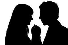 silhouettes två Arkivbilder