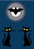 Silhouettes of two black cats and bat at night. Silhouette of flying bats and a two cats with big yellow eyes at night Stock Photos
